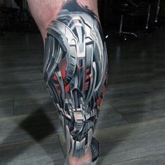 Robo Armor Biomechanical Tattoo on Leg