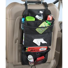 A car back of seat organizer with extra compartments and pockets that hangs from headrest posts. This car seat organizer holds a standard sized tissue box with lots of car storage. High Road car seat organizers keep clutter contained and cars clean. Backseat Car Organizer, Tissue Box Holder, Organization Station, High Road, Car Storage, Car Hacks, Back Seat, Car Cleaning, Travel Accessories