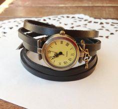 "Wrap Watch, Bracelet Watch,Wrist Watch ,Vintage Watch ""Antique Key""  Leather Bracelet: Black - Beautiful Fashion Watch Style Photo"