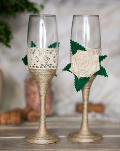 Gafas de encaje boda Chic rústico con cuerda por RusticBeachChic