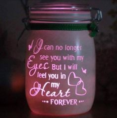 Personalised Glass Memory Candle Jar, I can no longer see you with my eyes but i will feel you in my heart, light jar, mason night light Mason Jars, Bottles And Jars, Mason Jar Crafts, Bottle Crafts, Candle Jars, Glass Jars, Glass Candle, Glass Block Crafts, Glass Blocks