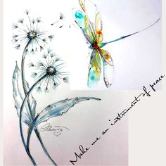 Small Dragonfly Tattoo, Dragonfly Painting, Dragonfly Art, Dandelion Tattoo Small, Watercolor Dandelion Tattoo, Dragonfly Drawing, Pretty Tattoos, Cute Tattoos, Beautiful Tattoos