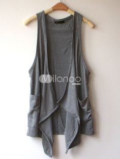 Fashion Gray Comfortable Pockets Irregular Trim Women's Vest - Milanoo.com