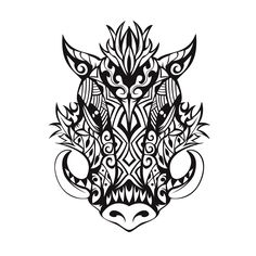 tribal boar tattoo