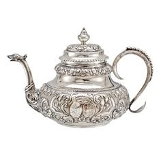 Antique Dutch Silver Tea Pot with Twin Crests |Pinned from PinTo for iPad|