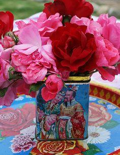 Roses in a tea tin