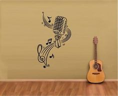 Wall Vinyl Sticker Decals Mural Room Design MICROPHONE Music Notes Hair bar Wall Stickers home decor diy poster paper Vinyl Room, Wall Decal Sticker, Vinyl Wall Decals, Vinyl Art, Music Notes Art, Music Wall Art, Diy Poster, Decoration, Art Decor