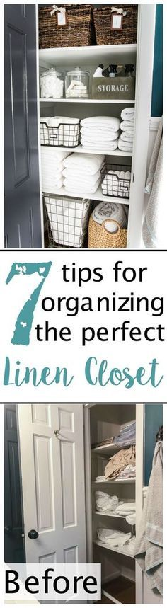 Linen Closet Organization Makeover - 7 tips for perfect linen closet organization for the best ways to sort sheets, keep cleaning supplies handy, make laundry easier, and have guest amenities in easy reach. Linen Closet Organization, Bathroom Organization, Organization Hacks, Bathroom Storage, Organizing Ideas, Basket Organization, Laundry Storage, Organising, Clothing Organization