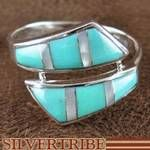 Southwest Jewelry Turquoise and Mother of Pearl Inlay Sterling Silver Ring