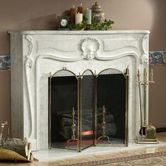 Electric Fireplace | 201 (1 1 1) Louis XIV Marble Mantel Electric.  Decorating ...  Decorating Fireplace Mantel