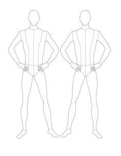 Croqui Fashion Model Templates | Male Flat Template