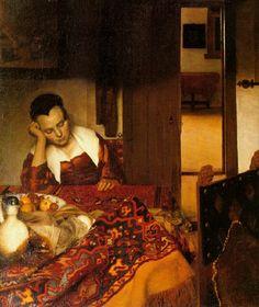 A Maid Asleep Johannes Vermeer (Dutch, Delft Delft) Date: Medium: Oil on canvas Dimensions: 34 x 30 in. x cm) The Metropolitan Museum of Art Johannes Vermeer, Henri Matisse, Rembrandt, Metropolitan Museum, Vermeer Paintings, Art Paintings, Painting Prints, Art Prints, Ancient Art