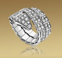 SERPENTI ring in 18kt white gold with full pavé diamonds - via BVLGARI