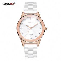 ... watch box for large watches Suppliers  LONGBO Brand Watches Women  Fashion Watch 2017 White Ceramic Diamond Waterproof Jelly Quartz Wrist  Watches relogio ... 95e9fb5f5e