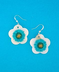 Handmade mother of pearl earrings with real flower - LAVISHY Boutique