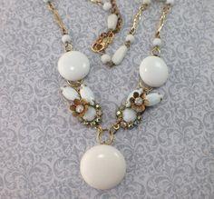 Woman's white necklace milk glass aurora borealis by ravished, $39.00