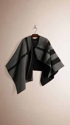 Burberry dark grey check wool and cashmere blanket poncho