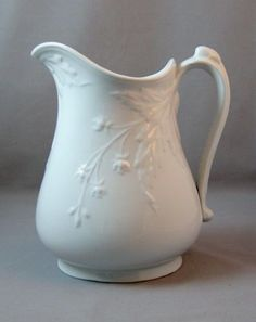 Ironstone pitcher with flower motif