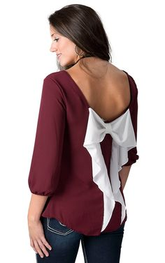 Moa Moa® Women's Maroon Chiffon with White Bow Back 3/4 Sleeve Game Day Fashion Top | Cavender's Fashion Top, Fashion Outfits, Womens Fashion, Bow Back Top, Western Wear For Women, Scarf Dress, Aggie Football, Sleeve, Game