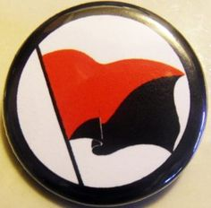 "ANARCHO-SYNDICALYST FLAG pinback button badge 1.25"" $1.50 plus shipping!"