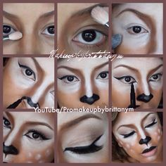 How to become a Deer or Doe for Halloween by Brittany Martin find the full tutorial at www.youtube.com/Promakeupbybrittanym