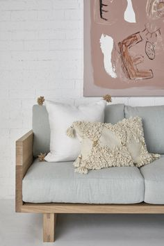Be seated in comfort and style with solid timber construction that's designed to last. Bed Pillows, Cushions, Interior Inspiration, Love Seat, Living Spaces, Pillow Cases, Armchair, Ticks, Natural Beauty