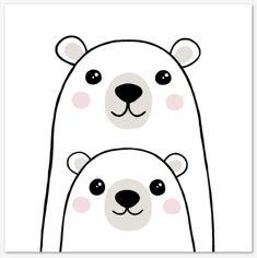 Polar Bear Paint, Polar Bear Drawing, Cute Polar Bear, Easy Drawings For Kids, Drawing For Kids, Simple Animal Drawings, Simple Cute Drawings, Easy Art For Kids, Art Kids