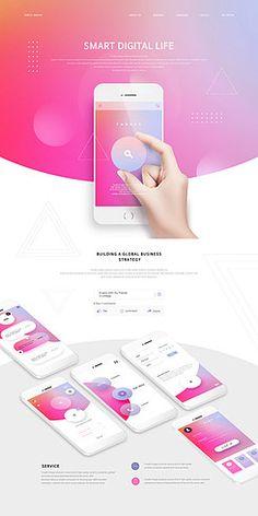IT/__적합한콘텐츠/검색창/그러데이션/메인페이지/모바일/모바일템플릿/비즈니스/빨간색/손/스마트폰/온라인/웹사이트/웹콘텐츠/웹템플릿/잡기 Website Design Layout, Web Layout, Website Design Inspiration, Layout Design, Web Design Studio, App Ui Design, Graph Design, Ui Web, Application Design