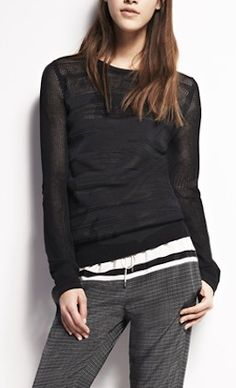 Pretty #black #mesh sweater http://rstyle.me/n/f7fkcr9te