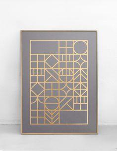 A gold foil letterpress print, featuring a gold foil… Geometric Pattern Design, Geometric Art, Pattern Art, Graphic Design Layouts, Graphic Design Branding, 16 Tattoo, Quilt Square Patterns, Art Deco Furniture, Furniture Design
