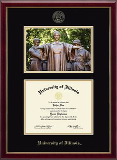 Our newest frame!  University of Illinois Diploma Frame - Features a beautiful photo of Alma Mater Sculpture mounted above your diploma, with your school name and seal gold embossed on black and gold museum-quality matting. The Galleria moulding is crafted of solid hardwood with a high-gloss cherry lacquer finish and gold inner lip.   This frame fits a Bachelor's, Master's, and PhD degree.