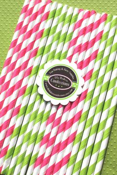 Fun stripe paper straws are perfect in wedding, bridal shower and birthday party drinks. You can even make cupcake toppers with them! Sweet Pea Collection in Hot Pink & Lime (30 count) by thebakersconfections