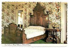 Pittock Mansion Postcard Portland Oregon South Bedroom Walnut Furniture Vintage