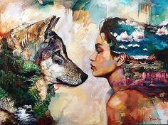 """Love her, but leave her wild."" Atticus #moonrisecreekinspiration #womanwhorunswithwolves #wildwoman #rewild #wildpower Artist - @dimitramilan"