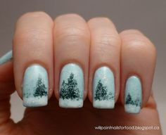 Winter Pine Tree Nails - Winter Christmas Nail Art  I would never, but it is pretty cool.