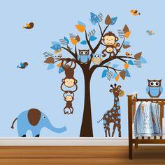 Baby's Nursery Roommates Tree-blue Leaves-elephant-giraffe-birds-wall Art Decor-girl Wall Art- Boy Decal-animals--custom Wall Decal-wall Art- Wall Decals-wall Decor- Home & Kitchen Decor Jungle Nursery, Nursery Room, Nursery Decals, Bedroom, Baby Boy Rooms, Baby Boy Nurseries, Little Mac, Owl Tree, Bird Wall Art