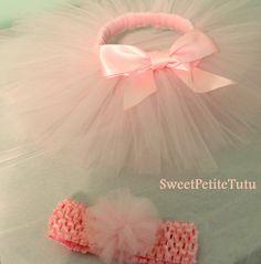 Light Pink Tutu Set, Newborn and up Many other color options by SweetPetiteTutu, $16.00