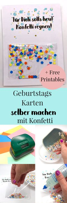 Geburtstagskarte zum Ausdrucken selber machen mit Konfetti Make DIY cards. It's so easy to design and print birthday cards for free. Make birthday cards – easy and fast with homemade confetti. Beautiful DIY idea for gifts. Diy Gifts For Kids, Diy Gifts For Friends, Easy Diy Gifts, Handmade Gifts, Birthday Cards To Print, Birthday Tags, It's Your Birthday, Free Birthday, Presents For Boyfriend