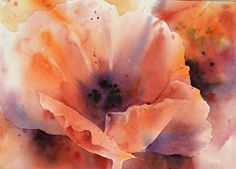 Poppy Visions by Yvonne Joyner Watercolor ~ 20 in. including mat x 16 in including  mat