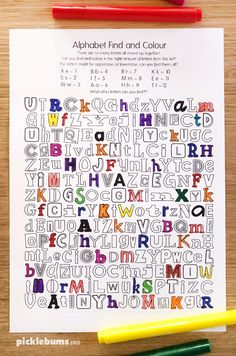 Alphabet Find and Colour Activity - Free Printable - Picklebums Learning Letters, Alphabet Activities, Color Activities, Literacy Activities, Activities For Kids, Occupational Therapy Activities, Montessori Education, Handwriting Games, Activity Sheets For Kids