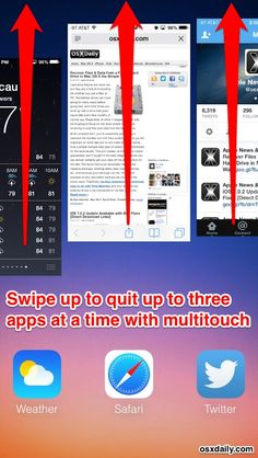 Quit multiple apps in iOS 7 with multitouch