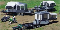 Great Idea, haul your toys along with a pop-up camper! Great Idea, haul your toys along with a pop-up camper! Camping Car, Camping Survival, Camping Life, Outdoor Camping, Camping Stuff, Camping Ideas, Survival Hacks, Rv Life, Outdoor Fun