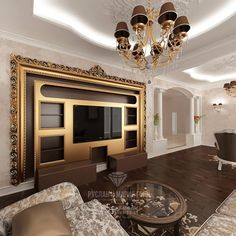 Home renovation design. Interior design projects bu russian architectures Ruslan and Maria Green (Moscow). House Ceiling Design, Tv Wall Design, House Design, Classic Interior, Luxury Interior, Interior Design, Tv Decor, Home Decor, Luxurious Bedrooms