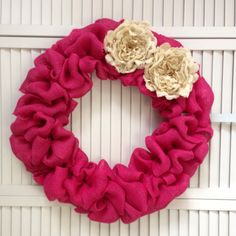 "Large Pink Spring Wreath, Burlap Wreath with Ivory Burlap Flowers, 20"" Spring Wreath, Door Wreath for All Year by ContemporaryCrafting on Etsy https://www.etsy.com/listing/224660547/large-pink-spring-wreath-burlap-wreath"