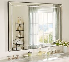 """Astor Mirror Double Wide   Pottery Barn 58"""" wide x 40"""" high x 1.5"""" thick Mirror glass over MDF. Beveled glass. Hangman brackets for mounting."""
