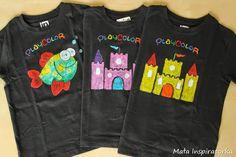 koszulki maloiwane farbami w sztyfcie / T-shirts painted with PlayColor solid poster paints