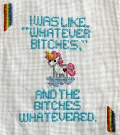 "Embroidery Stitches 'and the bitches whatevered"" free unicorn cross stitch pattern from The Hob-bee Hive Cross Stitching, Cross Stitch Embroidery, Embroidery Patterns, Hand Embroidery, Crochet Patterns, Cross Stitch Free, Funny Embroidery, Free Cross Stitch Patterns, Naughty Cross Stitch"