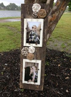 Barnwood Double Picture Frame with Rosettes Barn Wood Crafts, Barn Wood Projects, Pallet Crafts, Craft Projects, Diy Crafts, Craft Ideas, Diy Ideas, Cadre Photo Diy, Diy Holz
