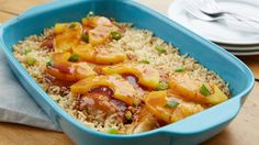One-Dish Hawaiian Chicken Bake This easy dinner packed with teriyaki chicken, rice and pineapple slices will be your new favorite summer casserole. Baked Chicken, Teriyaki Chicken, Chicken Rice, Chicken Casserole, Casserole Recipes, Skillet Recipes, Skillet Meals, Pierogi Casserole, Cracker Chicken