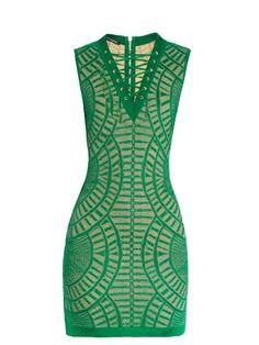 Balmain Lace-up ornate knit mini dress